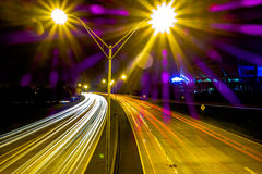 Night time on streets of charlotte north carolina Stock Photo