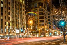 Night time streetscape in Chicago Illinois in winter Stock Image