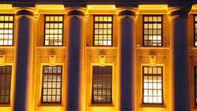 Night time structure. Long exposure of columns on a building at night time Royalty Free Stock Photography