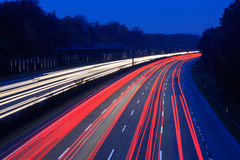 Night time traffic. On highway stock images