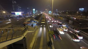 Night time traffic in a big city. Time lapse. Time lapse video of a rush hour traffic flow at night in Mecidiyekoy, Istanbul, Turkey. (With Gopro 4 on a tripod stock footage