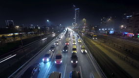 Night time traffic in a big city. Time lapse. stock video