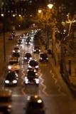 Night Time Traffic. On Embankment in London shot in tilt-shift stock images