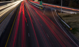Night time traffic on a highway. Long exposure picture of busy highway with lights  at night time on I35 in Austin, Texas Stock Images