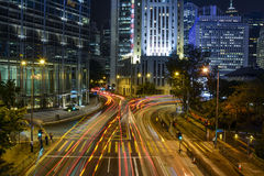 Night time traffic light trails in Hong Kong Stock Image