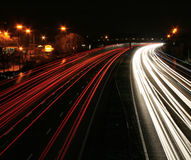 Night time traffic motion blurr Stock Image