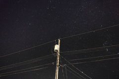 Night Time Transmission Line Royalty Free Stock Photos