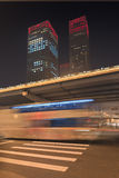 Night time urban dynamism at Beijing downtown, China Stock Images