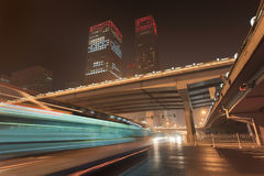 Night time urban dynamism at Beijing downtown, China Stock Image