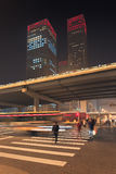 Night time urban dynamism at Beijing downtown, China. Urban dynamism in Beijing Central Business District at nighttime, China Royalty Free Stock Image