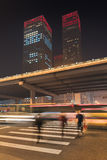Night time urban dynamism at Beijing downtown, China. Urban dynamism in Beijing Central Business District at nighttime, China Stock Image