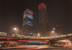 Night time urban dynamism at Beijing downtown, China. Urban dynamism in Beijing Central Business District at nighttime, China Royalty Free Stock Photo