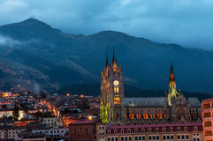 Quito Basilica at Night Stock Image