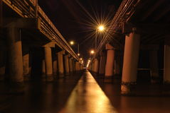 Night time view of the Chesapeake Bay Bridge Tunnel. View between the spans of the Chesapeake bay bridge tunnel Royalty Free Stock Photography
