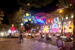 Ho chi minh city night view vietnam Stock Images