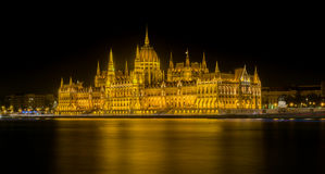 Night Time View of the Hungarian Parliament Building royalty free stock photography