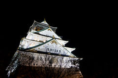 Night time view of osaka castle Royalty Free Stock Photos