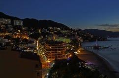 Puerto Vallarta at Night. Night time view of Puerto Vallarta from above Stock Photos
