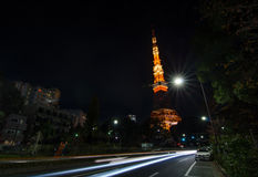 Night time view of Tokyo Tower Stock Images