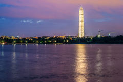 Night-time View of Washington Monument stock image