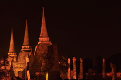 The Night time at Wat Phra Sri Sanphet Temple. Is world heritage Ayutthaya Thailand Stock Photography