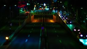 A night timelapse of the city street at the downtown in Setagaya Tokyo tiltshift. A night timelapse of the city street at the downtown tilt-shift. Setagaya stock video