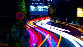 A night timelapse of the city street at the downtown in Suginami Tokyo tiltshift. A night timelapse of the city street at the downtown tilt-shift. Suginami stock footage