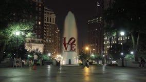 Night timelapse of Love Park of Philadelphia stock video