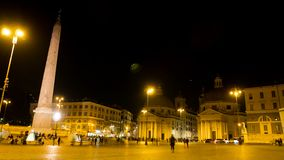 Night timelapse in one of the most beautiful squares of Rome, Piazza del Popolo