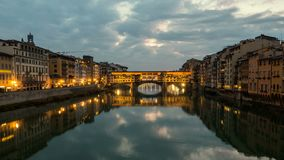 Night Timelapse of Ponte Vecchio at sunset, Florence, Tuscany, Italy. Night Timelapse of Ponte Vecchio at sunset, Florence, Tuscany, Italy stock video footage