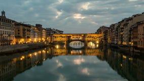 Night Timelapse of Ponte Vecchio at sunset, Florence, Tuscany, Italy. Night Timelapse of Ponte Vecchio at sunset, Florence, Tuscany, Italy stock footage