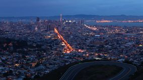 Night timelapse of San Francisco, California skyline 4K. A Night timelapse of San Francisco, California skyline 4K stock footage