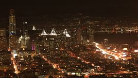Night timelapse of San Francisco skyline 4K. A Night timelapse of San Francisco skyline 4K stock footage