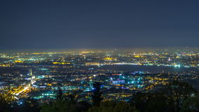 Night timelapse top view of besiktas district in istanbul taken from asian part of the city. stock footage
