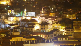 Night Timelapse, Traditional Ottoman Anatolian Village, Safranbolu, Turkey, zoom in stock video