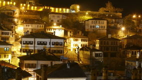 Night Timelapse, Traditional Ottoman Anatolian Village, Safranbolu, Turkey, zoom out stock video footage
