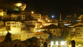 Night Timelapse, Traditional Ottoman Anatolian Village, Safranbolu, Turkey, zoom out stock video
