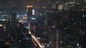 Night timelapse of urban downtown business and finance district in Bangkok.  stock video