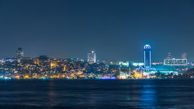 Night timelapse view of besiktas district in istanbul taken from asian part of the city. Night timelapse view of besiktas district with some skyscrapers in stock video footage