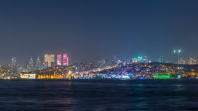 Night timelapse view of besiktas district in istanbul taken from asian part of the city. stock video