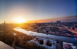 Night to day concept image. Evening in Moscow. Stock Photo