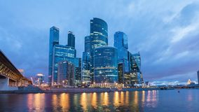 Night to Day time lapse of Moscow City business district stock video footage