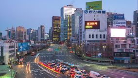 Night to day time lapse video of busy traffic and car in Seoul, South Korea