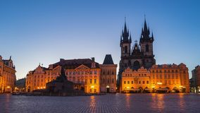 Night to day time lapse video of Prague old town square in Czech Republic stock footage