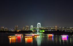 Night of Tokyo Bay. Tokyo, Japan - May 20, 2017. Night of Tokyo Bay with Rainbow Bridge. The Greater Tokyo Area is the most populous metropolitan area in the Stock Photography