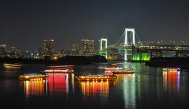 Night of Tokyo Bay. Tokyo, Japan - May 20, 2017. Night of Tokyo Bay with Rainbow Bridge. The Greater Tokyo Area is the most populous metropolitan area in the Stock Photos