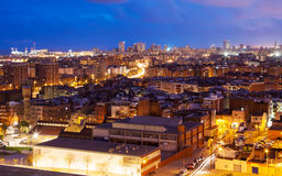 Night top view of Badalona and Barcelona Stock Images