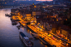 Night top view of the Douro river and Ribeiro at Porto Royalty Free Stock Photo