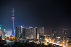Night in Toronto.  Long exposure of urban lighted skyline on a hot humid August evening. Urban lighted landscape of Toronto.  Gardiner Expressway from A balcony Stock Photography