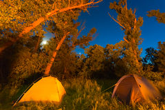 Night touristic camp scene Royalty Free Stock Image